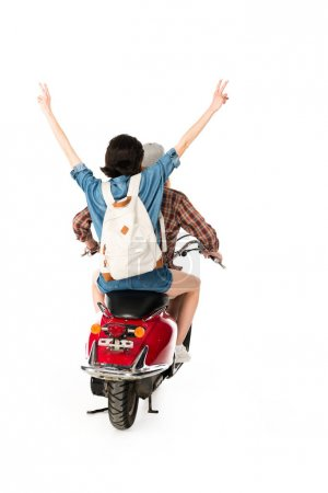 Photo pour Back view of young man and girl showing peace sign, sitting on red scooter isolated on white - image libre de droit