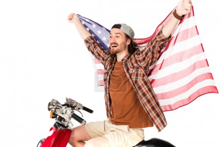 Photo pour Young man with flag of America riding on red scooter isolated on white - image libre de droit
