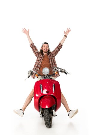 Photo for Full length view of happy young man with hands on air, sitting on red scooter isolated on white - Royalty Free Image