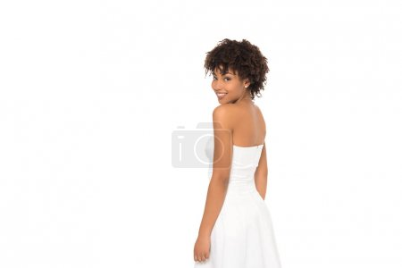 Photo for Beautiful african american bride smiling isolated on white - Royalty Free Image