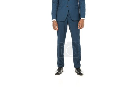 Photo for Cropped view of african american man standing in suit isolated on white - Royalty Free Image