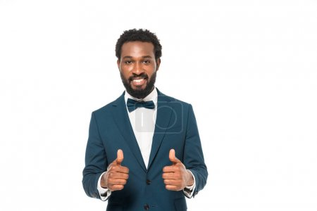 Photo for Handsome african american bridegroom showing thumbs up isolated on white - Royalty Free Image