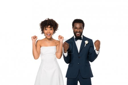 Photo for Excited african american bridegroom and bride gesturing isolated on white - Royalty Free Image