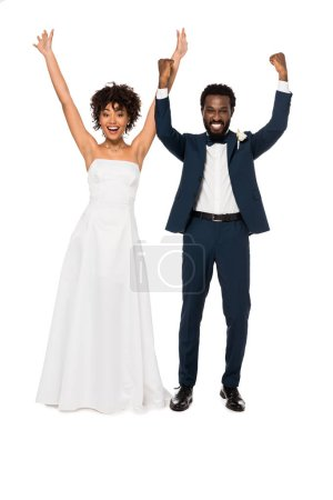 Photo for Cheerful african american bridegroom and bride gesturing isolated on white - Royalty Free Image