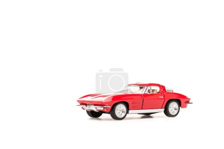Photo for Red toy car on white with copy space - Royalty Free Image