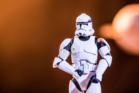 Photo for KYIV, UKRAINE - MAY 25, 2019: white toy imperial stormtrooper on blurred background - Royalty Free Image