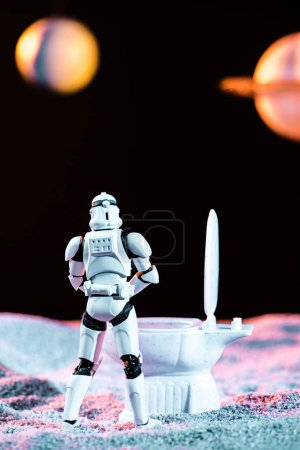 Photo for KYIV, UKRAINE - MAY 25, 2019: white imperial stormtrooper using toilet in space - Royalty Free Image