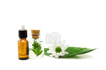 Photo pour Bouteilles avec liquide près de la fleur et feuilles isolées sur le blanc - image libre de droit