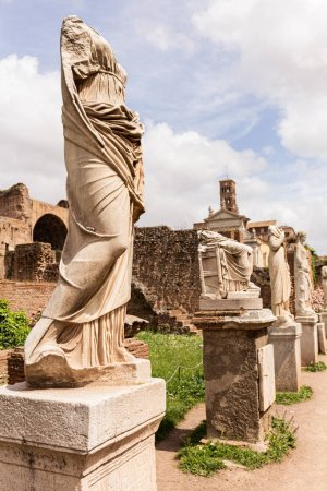 Photo for ROME, ITALY - JUNE 28, 2019: ancient statues and buildings in sunny day - Royalty Free Image