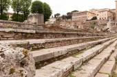 """Постер, картина, фотообои """"selective focus of concrete stairs in rome, italy"""""""