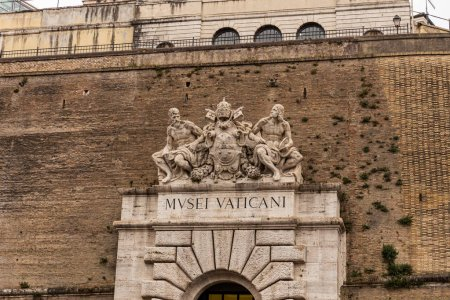 Photo for ROME, ITALY - JUNE 28, 2019: exterior of Vatican Museum with ancient sculptures - Royalty Free Image