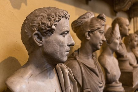 Photo for ROME, ITALY - JUNE 28, 2019: selective focus of ancient busts in vatican museum - Royalty Free Image
