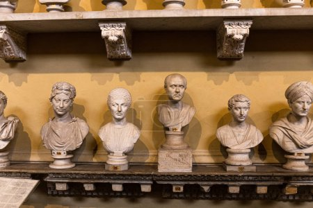 Photo for ROME, ITALY - JUNE 28, 2019: front view of ancient busts in vatican museum - Royalty Free Image