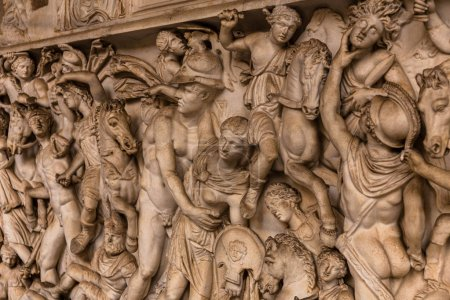 Photo for ROME, ITALY - JUNE 28, 2019: ancient roman bas-relief in museum - Royalty Free Image