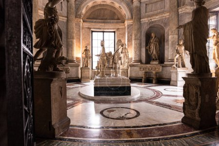 Photo for ROME, ITALY - JUNE 28, 2019: ancient roman sculptures and statues in Vatican Museum - Royalty Free Image