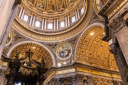 ROME, ITALY - JUNE 28, 2019: interior of vatican museums with ancient frescoes