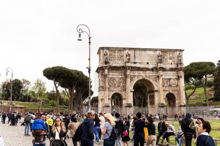 Photo for ROME, ITALY - JUNE 28, 2019: crowd of tourists near arch of Constantine - Royalty Free Image