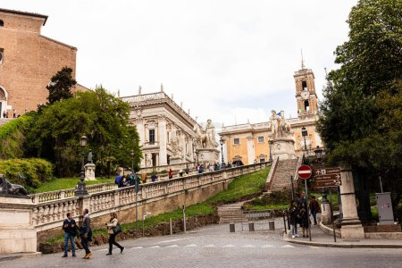 Photo for ROME, ITALY - JUNE 28, 2019: crowd of tourists walking on street - Royalty Free Image