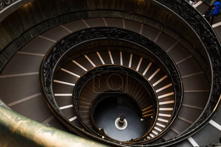 ROME, ITALY - JUNE 28, 2019: old spiraling Bramante Staircase in vatican museums