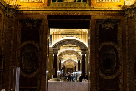 Photo for ROME, ITALY - JUNE 28, 2019: crowd of tourists walking in old museum with exhibition - Royalty Free Image