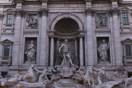 Photo for ROME, ITALY - JUNE 28, 2019: old building with ancient roman sculptures - Royalty Free Image