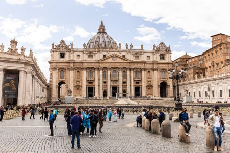 Photo for ROME, ITALY - JUNE 28, 2019: crowd of tourists in front of Basilica of st. peter - Royalty Free Image