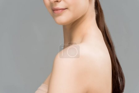 Photo for Cropped view of happy young woman isolated on grey - Royalty Free Image