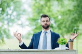 """Постер, картина, фотообои """"handsome young businessman meditating while sitting at table with plant in white flowerpot in park """""""
