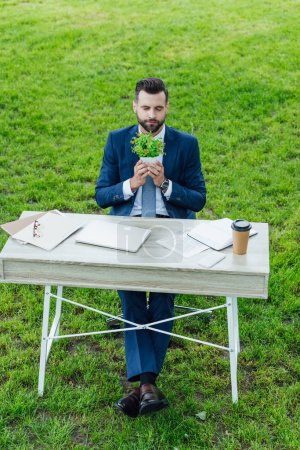 Foto de High angle view of young businessman holding plant in flowerpot and sitting behind table with laptop, notebooks and coffee to go - Imagen libre de derechos
