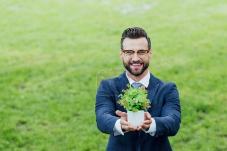 Foto de Young businessman presenting white flowerpot with plant and smiling at camera - Imagen libre de derechos