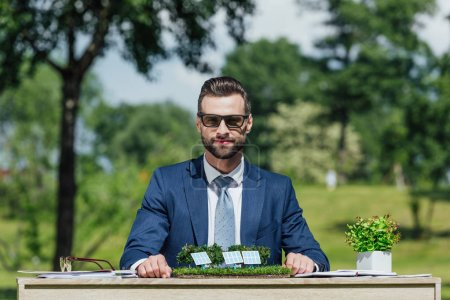 Photo for Young businessman in sunglasses sitting at table with sun batteries layout and flowerpot with plant and looking at camera - Royalty Free Image