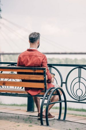 Photo for Back view of man in red shirt sitting on bench and looking away - Royalty Free Image