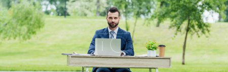 Foto de Panoramic shot of businessman using laptop while sitting at table in park - Imagen libre de derechos