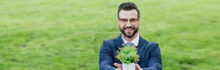 Photo pour Projectile panoramique du jeune homme présentant le pot de fleur avec la plante, souriant et regardant l'appareil-photo - image libre de droit
