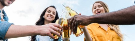 Photo for Panoramic shot of cheerful multicultural men and women clinking bottles with beer - Royalty Free Image