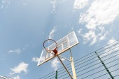 "Постер, картина, фотообои ""bottom view of basketball backboard under blue sky with clouds"""