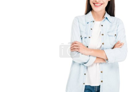 Photo for Cropped view of happy brunette woman with crossed arms isolated on white - Royalty Free Image