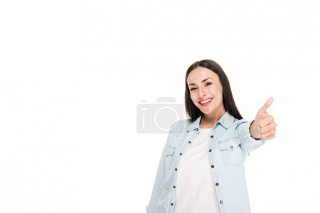 Photo for Happy brunette woman showing thumb up isolated on white - Royalty Free Image