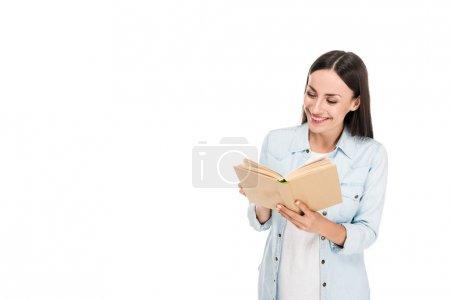 Photo pour Livre de lecture femme positive isolé sur blanc - image libre de droit