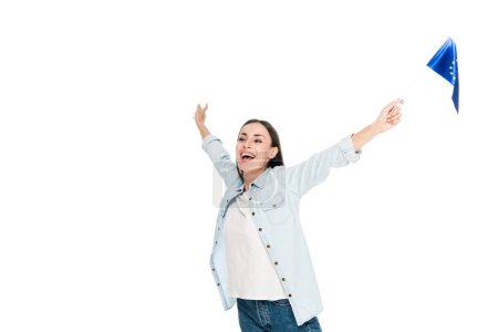 Photo for Excited girl in denim jacket holding flag of Europe isolated on white - Royalty Free Image