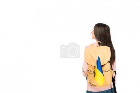 Photo pour Vue arrière de l'étudiant avec le sac à dos et le drapeau de l'Ukraine d'isolement sur le blanc - image libre de droit