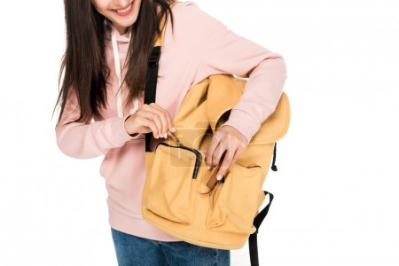 Photo for Cropped view of smiling brunette girl with backpack isolated on white - Royalty Free Image