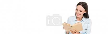 Photo for Positive woman reading book isolated on white, panoramic shot - Royalty Free Image