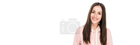 Photo for Smiling girl in casual outfit standing isolated on white, panoramic shot - Royalty Free Image