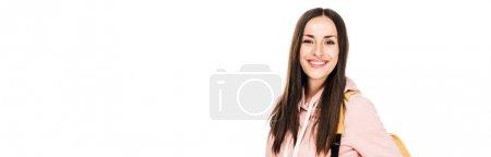 Photo pour Fille de brunette de sourire avec le sac à dos d'isolement sur le blanc, projectile panoramique - image libre de droit