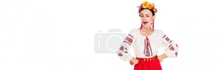 Photo for Brunette young woman in national Ukrainian costume with hands on hips winking isolated on white, panoramic shot - Royalty Free Image