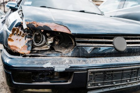 Photo for Selective focus of damaged headlight in automobile after car accident - Royalty Free Image