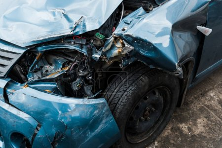 Photo for Selective focus of crashed automobile after car accident - Royalty Free Image