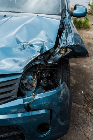 Photo for Selective focus of crashed blue auto after car accident - Royalty Free Image
