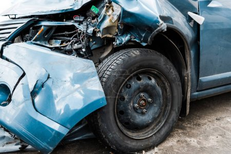 Photo for Selective focus of damaged blue auto after car accident - Royalty Free Image